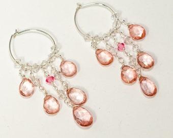 Gemstone Chandelier Earrings - Fine Jewelry - Pink Quartz Earrings - Silver Hoop Earrings- Gemstone Hoop Earrings - Pink Gemstone Earrings
