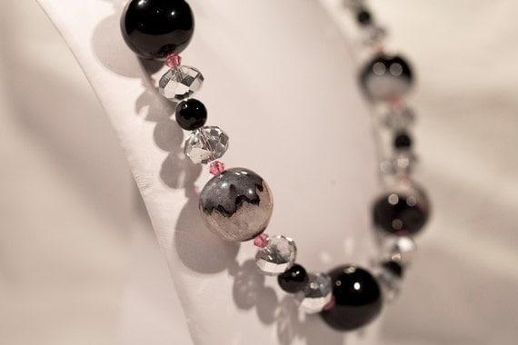 Black Onyx Necklace - Chunky Statement Necklace - Gemstone Necklace - Black Necklace- Mothers Day Gift - Gemstone Jewelry - Druzy Necklace