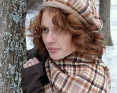 Brown Plaid Wool Beret and Scarf Set