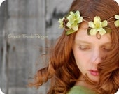 Faerie Flower Circlet, Chartreuse Green Elf Headpiece