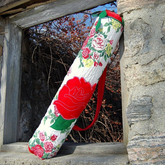 Red Retro Rose, Handmade Exercise Mat Bag