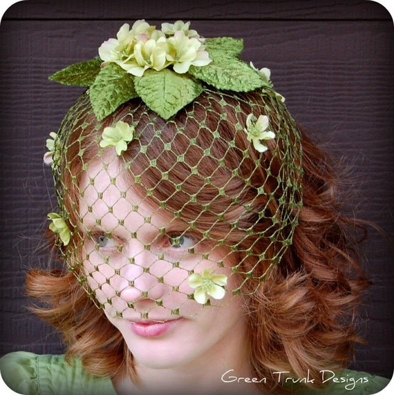 Spring Green Birdcage Veil
