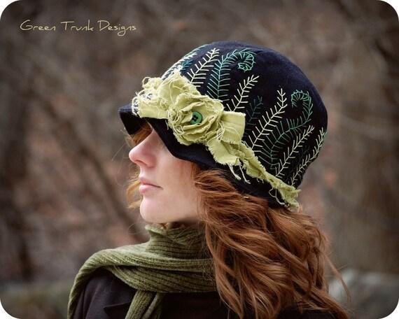 Midnight Fern Cloche Hat