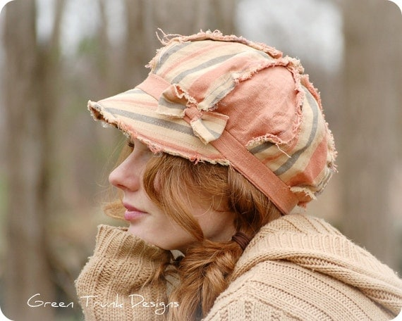 Peach Newsboy Hat Shabby Chic Boho Hippie Tattered Linen Fabric