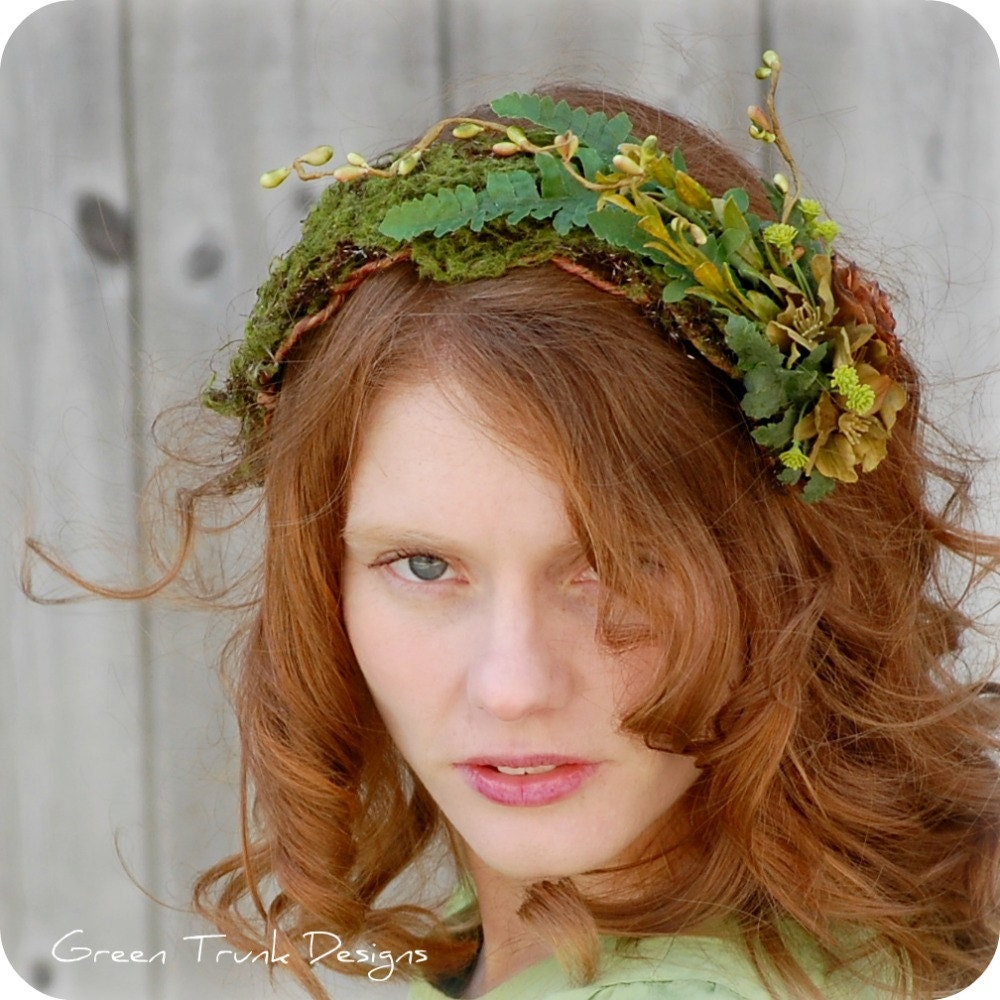 Woodland Fairy Headpiece Hat Headband Green Fern Moss