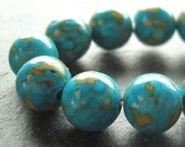Fire Turquoise Beads 8mm Teal Blue Marbled Turquoise Smooth Rounds - 10 Pieces