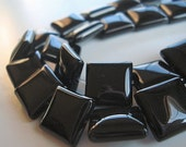 Onyx Beads 12mm Jet  Black Onyx Smooth Shiny Puffed Squares - 6 Pieces