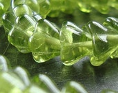 Czech Glass Beads 9 X 6mm Olive Lime Green Bell Flowers - 16 Pieces