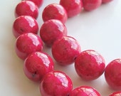 Fossil Round Beads 12mm Natural Neon Hot Pink Smooth - 10 Pieces