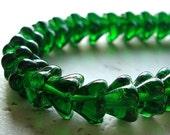 Czech Glass Beads 8 X 6mm Emerald Green Bell Flowers - 16 Pieces