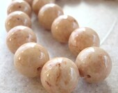 Fossil Beads 8mm Natural Desert Sand Brown Smooth Round Stones - 16 Pieces