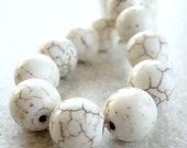 Turquoise Beads 8mm Natural Bleached White Smooth Rounds - 12 Pieces