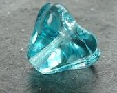 Czech Glass Beads 8 X 6mm Aqua Turquoise BlueBell Flowers - 12 Pieces