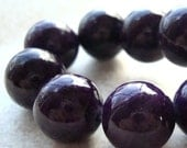 Fossil Beads 12mm Natural Sangria Purple Smooth Round Stones - 12 Pieces