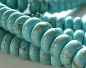 Turquoise Bead 8 x 4mm Stabilized Aqua Turquoise Smooth Rondelles - 20 Pieces