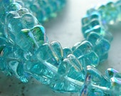 Czech Glass Beads 9 x 5mm Teal Blue AB Coated 5 Pt Star Flowers - 10 Pieces