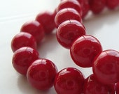 Fossil Beads 10mm Natural Tomato Red Smooth Round Stones - 12 Pieces