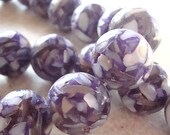 Resin Beads 14mm Acai Berry Marbled MOP Smooth Rounds  - 6 Pieces