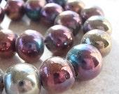 Glass Beads 14mm Iridescent Bronze Rainbow Aurora Borealis Smooth Rounds - 6 Pieces