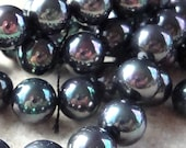 Shell Pearl Beads 8mm Lustrous Rainbow Black Natural Smooth Rounds  - 8 Pieces