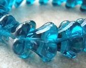 Czech Glass Beads 12 x 10mm Big Teal Blue Bell Flowers - (Last 13 Pieces)