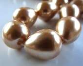 Shell Pearl Beads 15 X 11mm Lustrous Metallic Gold Shell Pearl Smooth Teardrops  - 4 Pieces