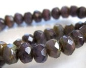 Czech Glass Beads 5 X 3mm Orchid Purple w/Olive Green Accents  Faceted Rondelles - 30 Pieces