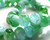 Czech Glass Beads 6 X 4mm Fresh Green w/ Mint Accents Faceted Rondelles - 25 Pieces