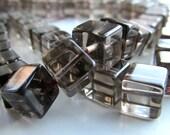 Smokey Quartz Beads 8 x 8mm Smokey Quartz Smooth 3D Cubes - 16 Pieces