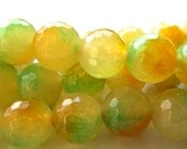Jade Beads 8mm Multi Citrus Lemon Lime Orange Colored Candy Faceted Rounds - 8 inch Strand