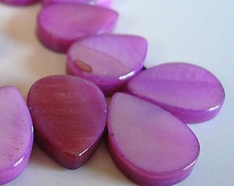 Mother of Pearl Beads 14 X10mm Lustrous MOP Violet Smooth Teardrops - 6 Pcs.