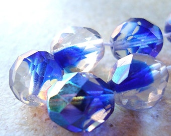 Czech Glass Beads 10mm Cobalt  Blue Auroura Borealis  Faceted Rounds - 8 Pieces