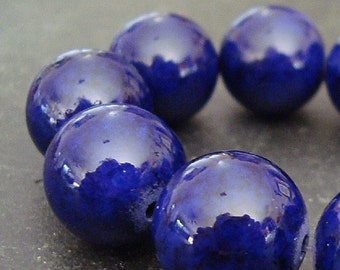 Fossil Beads 12mm Natural Navy Blue Smooth Rounds - 12 Pieces