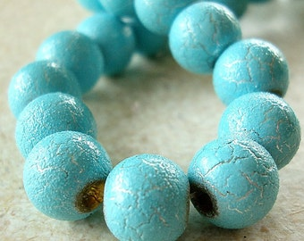 Glass Beads 8mm Silver Marbled Turquoise Smooth Rounds - 10 Pieces
