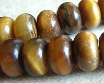 Tiger Eye Beads 8 x 5mm Smooth Chatoyant Golden Brown Rondelles -12 Pieces