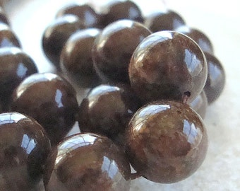 Bronzite Beads 10mm Lustrous Chocolate Brown Smooth Rounds -  12 Pieces