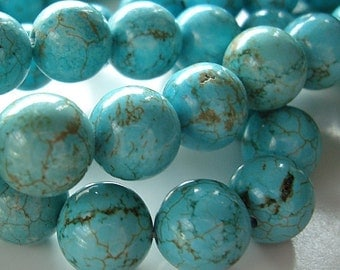 Turquoise Beads 12mm Natural Aqua Blue Turquoise Rounds - 12 Pieces