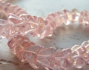 Czech Glass Beads 9 x 5mm Powder Pink AB Coated Flowers - 10 Pieces