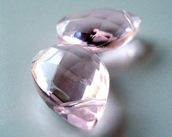 Glass Teardrop Beads 18 X 12mm Brilliant Puffed Light Pink Faceted Briolettes - 2 Pieces