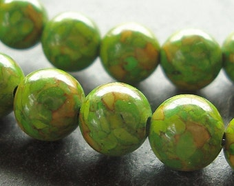 Fire Turqouise Beads 8mm Lime Green Marbled Smooth Rounds - 10 Pieces