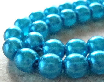 Czech Glass Beads 8mm Capri Blue Pearl Finish Smooth Rounds - 12 Pieces