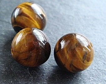 Tigereye Beads 10mm Smooth Flash Brown Rounds - 10 pieces
