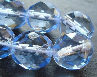 Czech Glass Beads 10mm Faceted Baby Blue Rounds - 12 Pieces