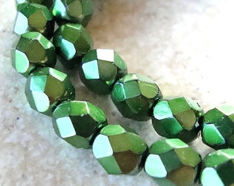 Czech Glass Beads 6mm Metallic Emerald Green Faceted Rounds - 10 Pieces