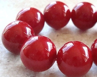 Shell Pearl Beads 12mm Lustrous Crimson Red Shell Pearl Round Beads  - 4 Pieces