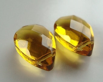 Glass Teardrop Beads 18 x 12mm Brilliant Puffed Lemon Yellow Crystal Faceted Briolettes - 2 Pcs.