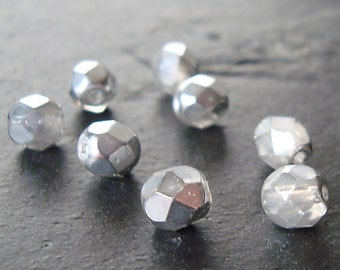 Czech Glass Beads 6mm Metallic Silver Coated Faceted Faceted Rounds - 10 Pieces