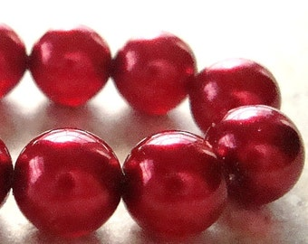 Czech Glass Beads 8mm Scarlet Red Pearl Finish Smooth Rounds - 12 Pieces