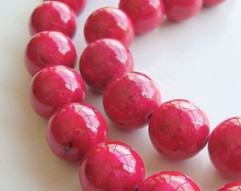 Fossil Beads 4mm Natural Hot Neon Pink Round Stones - 8 inch Strand