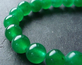 Jade Beads 6mm Lime Green Candy Rounds -  12 Pieces